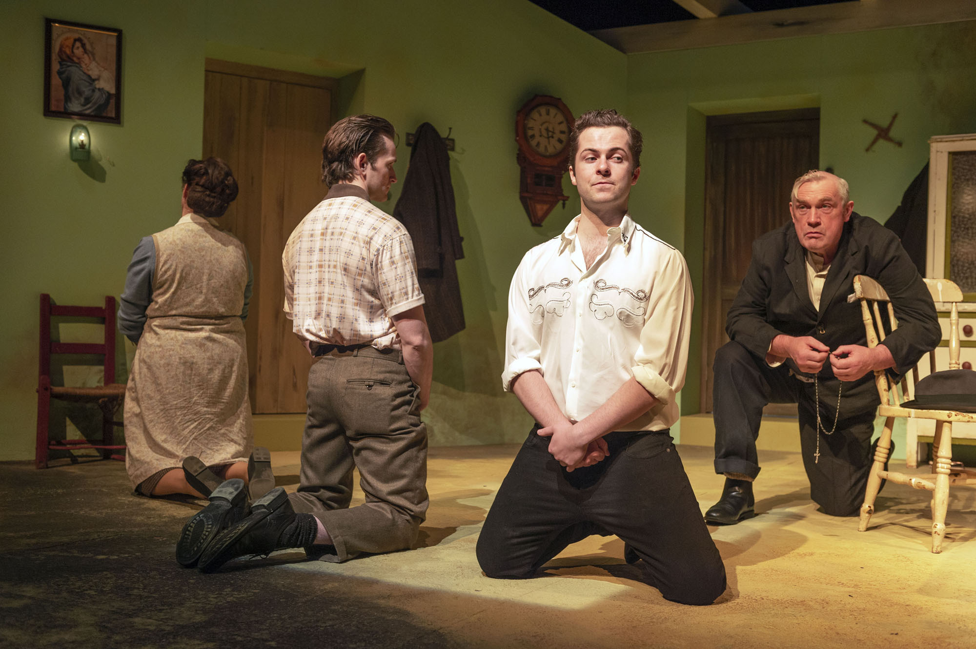 Catherine Walsh (Madge), Seamus O'Rourke (S.B.), Shane O'Regan (Gar Public), Alex Murphy (Gar Private), in Brian Friel's Philadelphia Here I Come! directed by Geoff Gould and presented by Patrick Talbot Productions at Cork Opera House, 5th to 16th October.