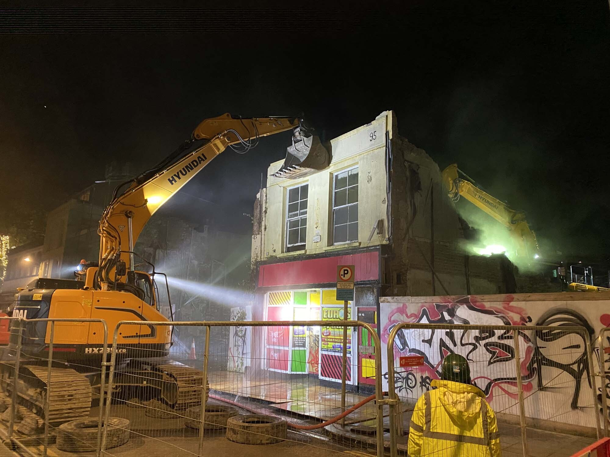 The demolition of the premises at 95 North Main Street, Cork for a development of student apartments.