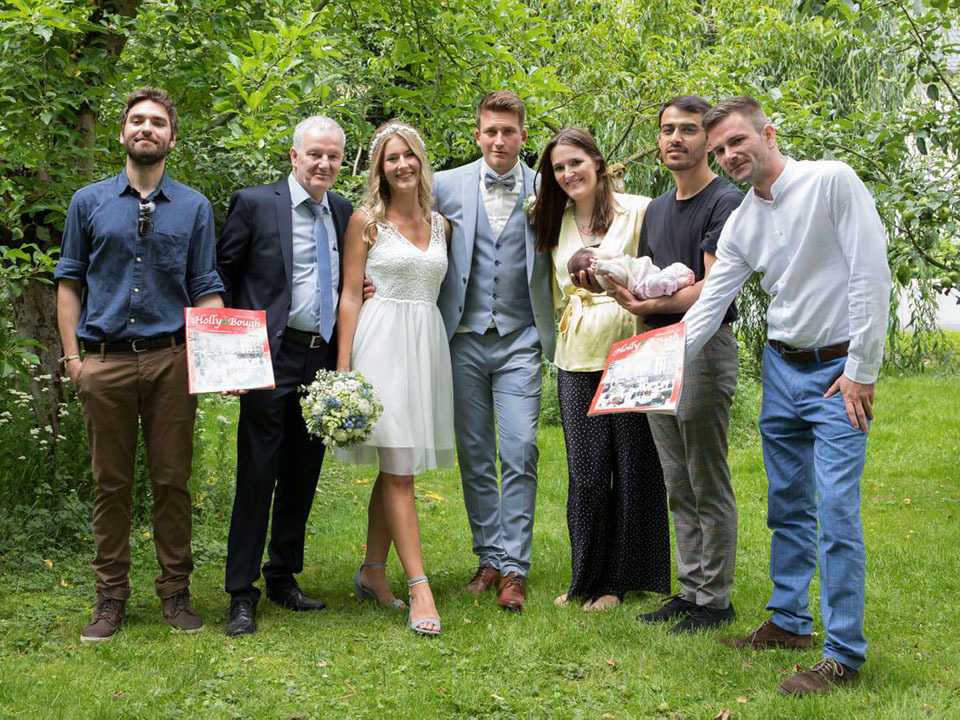Helen Mehegan, whose father, Leo, is originally from Nicholas Street, Cork, on her wedding day in Limburg, Germany, with her dad and Anouk, Ray and Kevin Mehegan, and new husband Jan Hilpisch