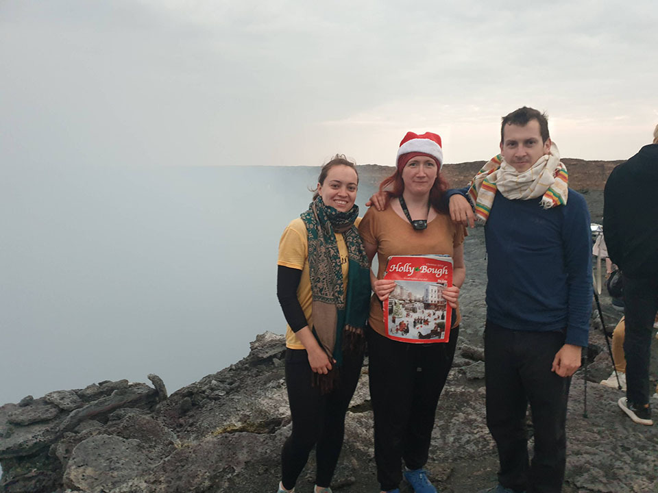 Julie McSweeney, Barry Lovern and Alison Grove, of Millstreet, on top of Erta Ale, an active volcano in north-eastern Ethiopia