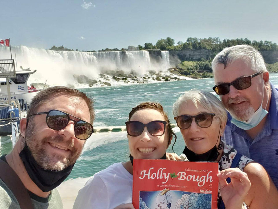 Cousins Karen Power, of Fairhill, and Paula Falvey McKellar, of Easons Hill, who met up this year at Niagara Falls with their Canadian partners Kelly and Dave