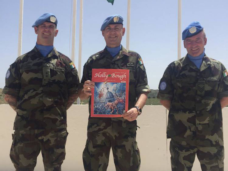 Luke Maloney, of Commons Road, Marc Lenihan, of Passage West, and Martin Kelly, of Cobh, serving with 117th Inf Battalion UNIFIL in South Lebanon this year
